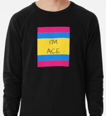 Panromantic Flag Asexual I'm Ace Asexual T-Shirt Lightweight Sweatshirt