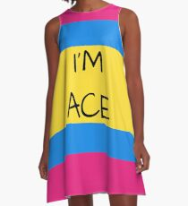 Panromantic Flag Asexual I'm Ace Asexual T-Shirt A-Line Dress