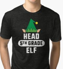 Head Preschool Elf T-Shirt Christmas Teacher School Gift Tri-blend T-Shirt