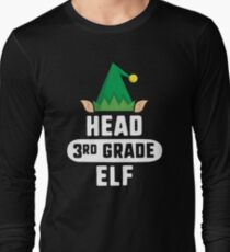 Head 5th Grade Elf T-Shirt Christmas Teacher School Gift Long Sleeve T-Shirt