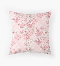 Soft and pretty pink floral patchwork squares Throw Pillow