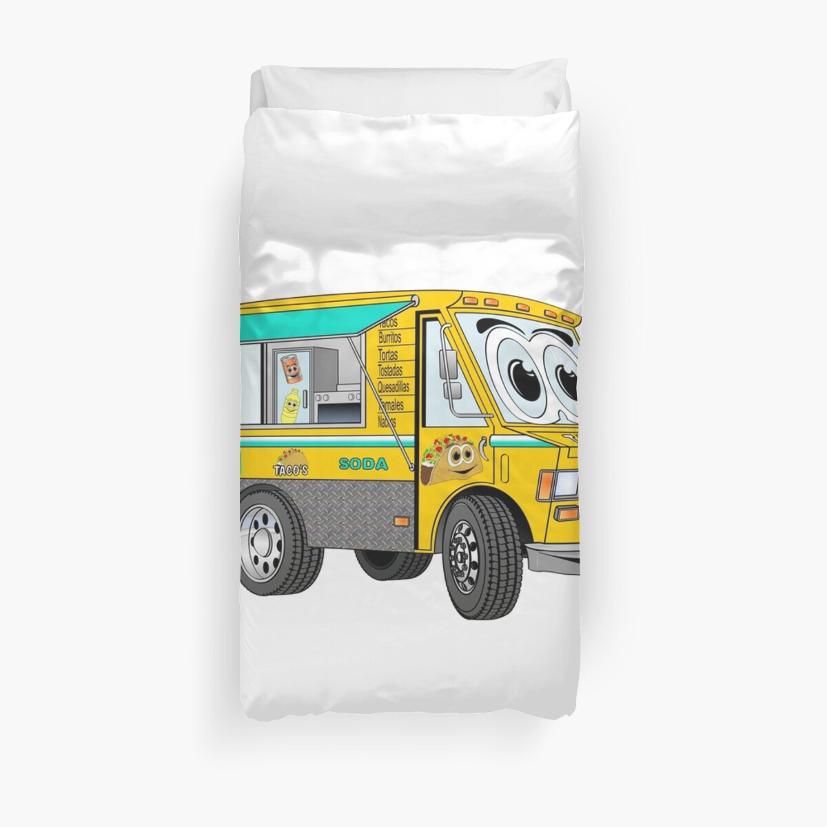 Cartoon Gold Taco Truck Duvet Covers By Scott Hayes Redbubble