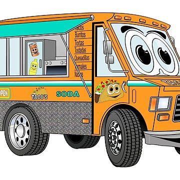 Orange Taco Truck Cartoon by Graphxpro