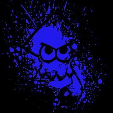 Splatoon Black Squid on Blue Splatter Mask by Ironmoth