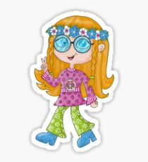 Hippie Girl - Love - Peace - Happiness Sticker