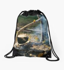 making food in cauldron on fire Drawstring Bag