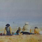 Family on the beach by Mick Kupresanin