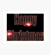 Happy Christmas glow red  Art Print