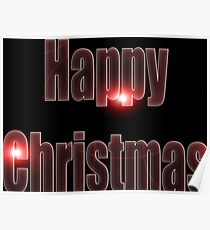 Happy Christmas glow red  Poster