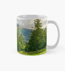 spruce trees on the grassy slope Mug