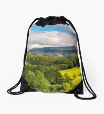 gorgeous panorama of mountainous landscap Drawstring Bag