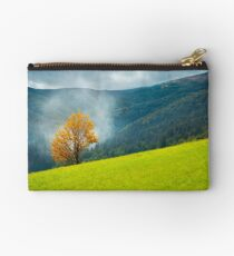 tree with golden foliage on grassy hillside Studio Pouch