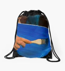 painter prepare canvas for drawing Drawstring Bag