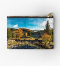 wonderful autumn sunrise with fog in the valley Studio Pouch