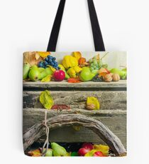 autumn still life with harvest in leaves Tote Bag