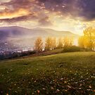 cloudy sunrise in mountains by mike-pellinni
