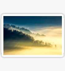 deep fog above the valley at sunrise Sticker