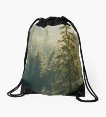spruce tree in beautiful light Drawstring Bag