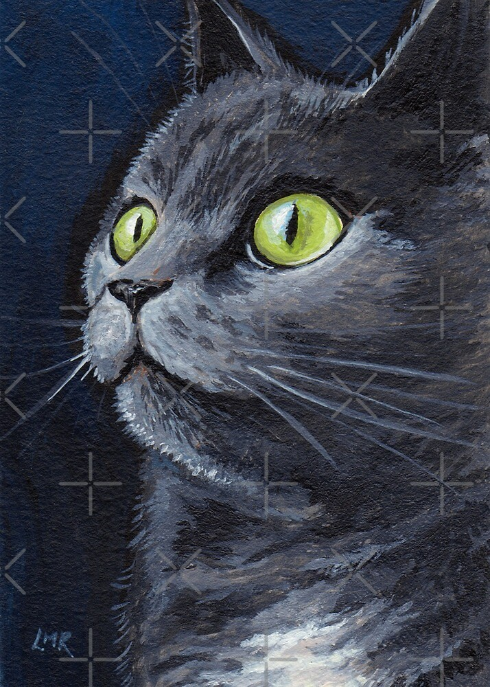 Old Smokey - Green Eyes Grey Cat by Lisa Marie Robinson