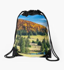 splendid autumn landscape on a bright day Drawstring Bag