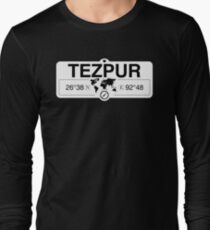 Tezpur Assam with World Map Coordinates GPS   Long Sleeve T-Shirt