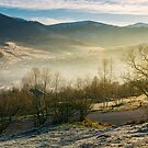 rural valley in autumn at sunrise by mike-pellinni
