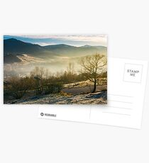 rural valley in autumn at sunrise Postcards