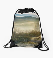 rural valley in autumn at sunrise Drawstring Bag