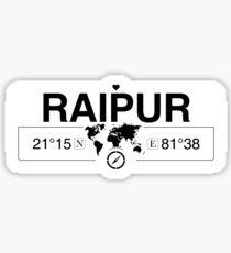 Raipur Chhattisgarh with World Map Coordinates GPS   Sticker