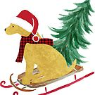 Golden Retriever Christmas Sled Bringing Home The Tree by emrdesigns