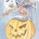 Mermaid Witch on Jack O'Lantern  by dreampigment