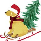 Goldendoodle Christmas Sled Bringing Home The Tree by emrdesigns