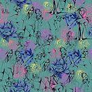 floral with ladies, teal by Lara Wolf