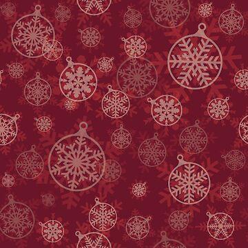 Retro Red Christmas Snowflakes Design Pattern by Digitalbcon