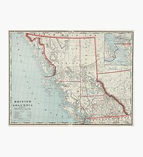 Vintage Map of British Columbia (1901) Photographic Print