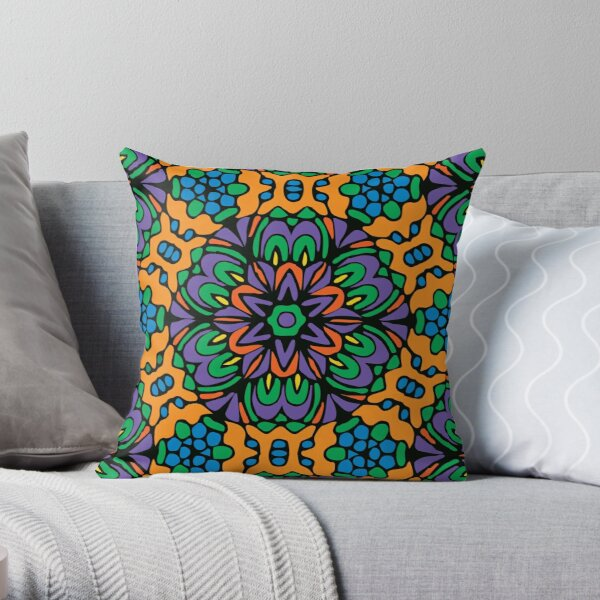 Royal Retro Flower Throw Pillow