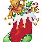 Christmas stocking with Teddy-bear, toys and jingle bells by SherDigiScraps