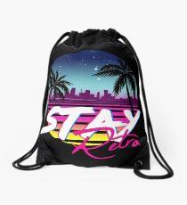 Stay Retro - Miami Vice Synthwave Nights  Drawstring Bag