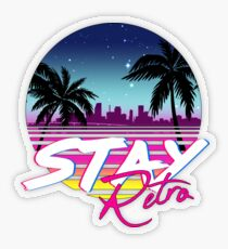 Stay Retro - Miami Vice Synthwave Nights  Transparent Sticker