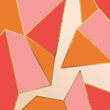 Pink and Orange Gold Geometric Fractal by TeeVision