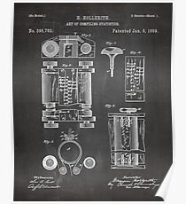 First Computer Patent - Technology Art - Black Chalkboard Poster