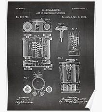 Erstes Computerpatent - Technologiekunst - Schwarze Tafel Poster