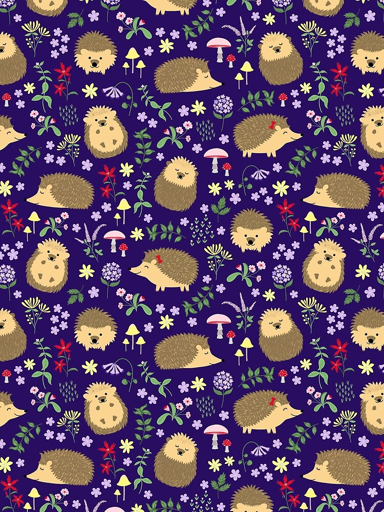Hedgehogs in a magical purple forest by missmewow