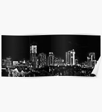 Lower Downtown Denver Panorama in Black and White Poster