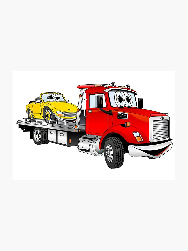 76409b807 Red Tow Truck Flatbed Cartoon