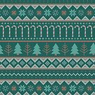 Christmas Sweater Pattern in Green + Red by latheandquill