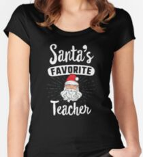 Santa's Favorite Principal Christmas T-Shirt School Gift Women's Fitted Scoop T-Shirt