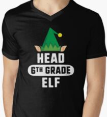 Head Speech Elf T-Shirt Christmas Teacher School Gift Xmas Men's V-Neck T-Shirt