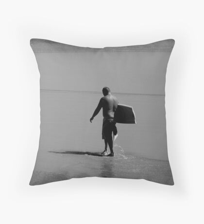 Body Boarding Blues Throw Pillow