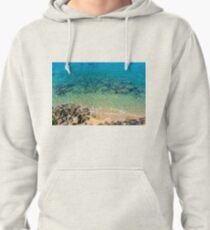 Turquoise, Blue and Green Clear Water of the Mediterranean Sea at the Beach Pullover Hoodie